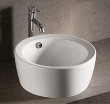 "Whitehaus WHKN1055 18"" Isabella Round Above Mount Bathroom Vessel Sink With Overflow & Center Drain - White"