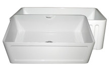 "Whitehaus WHFLCON3018 30"" Reversible Fireclay Apron Kitchen Sink With Concave Front Apron One Side & Fluted Front Apron On Other - White"