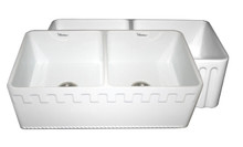 "Whitehaus WHFLATN3318 33"" Reversible Double Bowl Fireclay Apron Kitchen Sink With Athinahaus Front One Side & Fluted Front Other Side - White"
