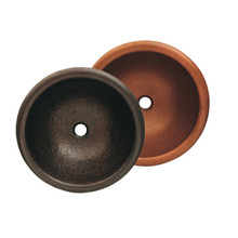 "Whitehaus WHCOLV17RD 16 3/4"" Copperhaus Round Drop-in or Undermount Sink With Hammered Texture - Hammered Bronze"