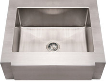 "Whitehaus WHNCMAP3026 30"" Noah's Collection Commercial Single Bowl Apron Kitchen Sink with Decorative Notched Front - Brushed Stainless Steel"