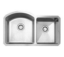 "Whitehaus WHNC3220 31 7/8"" Noah's Collection Chefhaus Series Double Bowl Undermount Kitchen Sink - Brushed Stainless Steel"