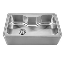 "Whitehaus WHNAPA3016 Noah's Collection Single Bowl Drop-in Apron Kitchen Sink With Seamless Front 33 1/2"" x 19 3/4"" - Brushed Stainless Steel"