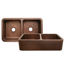 """Whitehaus WH3621COFCD Copperhaus 36"""" x 21"""" Double Bowl Undermount Apron Kitchen Sink With Hammered Front - Hammered Bronze"""
