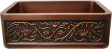 "Whitehaus WH3020COFCSF Copperhaus 30"" x 20"" Undermount Apron Kitchen Sink With Sun Flower Design Front - Smooth Bronze"