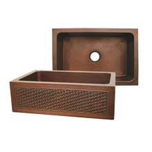 "Whitehaus WH3020COFCBW Copperhaus 30"" x 20"" Undermount Apron Kitchen Sink With Basket Weaving Design Front - Smooth Bronze"