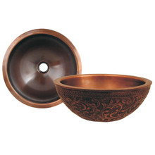 "Whitehaus WH1414FLLAV 14"" Copperhaus Round Bathroom Vessel Sink With Floral Design - Smooth Copper"