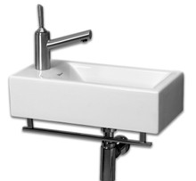 "Whitehaus WH1-114RTB 19 3/4"" Isabella Wall Mount Sink With Chrome Towel Bar & Center Drain - White"