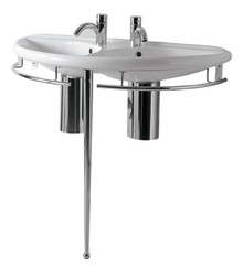 "Whitehaus ECO64-ESU04 38"" Semi-circular Double Sink China Wall Mount Console Sink With Chrome Overflow & Towel Rails & Leg Support - White"