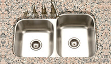 Houzer STE-2300SL-1 Eston Undermount 60/40 Double Bowl Small Bowl Left Kitchen Sink - Stainless Steel