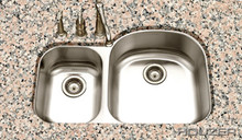 Houzer STC-2200SL-1 Eston Undermount 70/30 Double Bowl Small Bowl Left Kitchen Sink - Stainless Steel