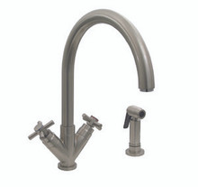 "Whitehaus 3-03942CH85 Luxe+ Two Handle Single Hole Kitchen Faucet - ""V"" Cross Handles & Side Spray - Choice of Finish Colors"