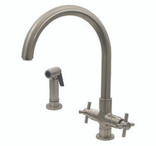 Whitehaus 3-03954CH85 Luxe+ Two Handle Single Hole Kitchen Faucet with Cross Handle & Side Spray - Choice of Finish Colors