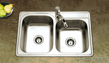 Houzer ISL-3322BS1-1 33'' x 22'' x 8'' Kitchen Sink Double Bowl - 1 Hole - Stainless  Steel