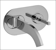 Aquabrass Cut 39529BN Single Handle Wallmount Lavatory Faucet - Brushed Nickel