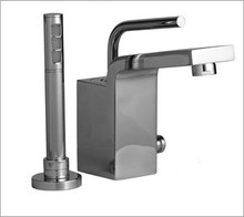 Aquabrass Hey Joe 28074BN Single Handle Roman Tub Faucet & Handshower - Deck Mount - Brushed Nickel