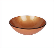 "Aquabrass 97046 Round Basin Countertop Vessel Sink 16 1/2"" x 5 3/4"" - Copper Sculptured Glass"
