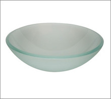 Aquabrass CF151 Round Basin Countertop Vessel Sink 17'' x 5 3/4'' - Crystal Frosted Glass