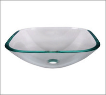 Aquabrass CC153 Square Basin Countertop Vessel Sink 17'' x 17'' x 6 1/4''  - Crystal Clear Glass