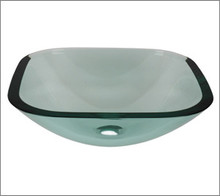 Aquabrass GC193 Square Basin Countertop Vessel Sink 17'' x 17'' x 6 1/4''  - Clear Glass