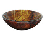 "Aquabrass 97038 Round Basin Glass Vessel Sink 16 1/2"" x 6"" - Topaz"