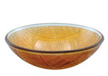 "Aquabrass 97019 Round Basin Glass Vessel Sink 17"" x 5 1/2"" - Amber"