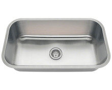 "Polaris PC8123 Single Bowl Undermount Stainless Steel Kitchen Sink 32 1/4"" W x 18"" L x 9"" D - 18 Gauge - Brushed Satin"