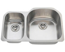 "Polaris PR1213-18 Large Right Bowl Offset Double Stainless Steel Undermount Kitchen Sink 31 1/2"" W x 20 3/4"" L - 18 Gauge - Brushed Satin"