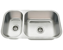 "Polaris PB8123R Offset Double Bowl Undermount Stainless Steel Kitchen Sink 32 1/4"" W x 18"" L x 9"" D - 18 Gauge - Brushed Satin"