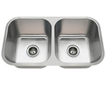 "Polaris PA8123 Double Bowl Stainless Steel Undermount Kitchen Sink 32 1/4"" W x 18"" L x 9"" D - 18 Gauge - Brushed Satin"