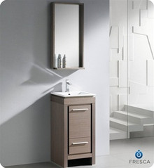 "Fresca Allier FVN8118GO 16"" Small Modern Bathroom Vanity Cabinet w/ Mirror - Gray Oak"