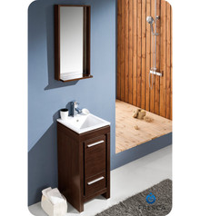 Fresca Allier FVN8118WG Fresca Allier 16'' Small Wenge Brown Modern Bathroom Vanity w/ Mirror