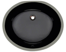 "Polaris PUPMBL Black Undermount Porcelain Bathroom Sink 19"" W x 15"" 1/2 x 5"" Triple Glazed"