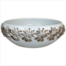 "Linkasink PSC09 17"" Metal Leaves Porcelain Vessel Sink - White or Bronze Glaze"