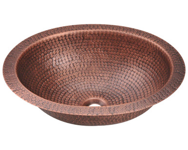 "Polaris P909 Single Bowl Oval Hammered Copper Bathroom Sink Undermount or Topmount 17"" W x 14"" L"