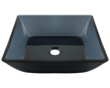 "Polaris P036 Square Glass Lavatory Vessel Sink 15 3/4"" x 4 1/4"" - Black"