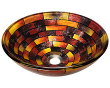 "Polaris P126 Stained Glass Lavatory Vessel Sink 16 1/2"" Diameter - Multi Colored"