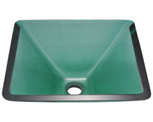 "Polaris P306E Emerald Colored Square Glass Lavatory Vessel Sink 16 1/2"" x 16 1/2"" x 6"""