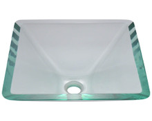 "Polaris P306CR Crystal Colored Square Glass Lavatory Vessel Sink 16 1/2"" x 16 1/2"" x 6"""