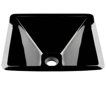 "Polaris P306BL Black Colored Square Glass Lavatory Vessel Sink 16 1/2"" x 16 1/2"" x 6"""