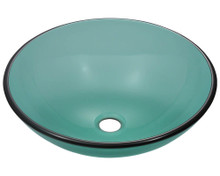 "Polaris P106E Colored Glass Vessel Sink 16 1/2"" Diameter - Emerald"