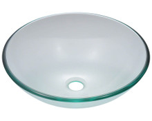 "Polaris P106CR Colored Glass Vessel Sink 16 1/2"" Diameter - Crystal"