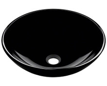 "Polaris P106BL Colored Glass Vessel Sink 16 1/2"" Diameter - Black"