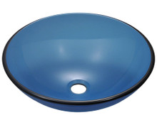 "Polaris P106A Colored Glass Vessel Sink 16 1/2"" Diameter - Aqua"