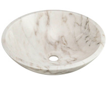 "Polaris PW058 Granite Stone Vessel Sink 16 1/2"" Diameter x 5 1/2 Deep - White"