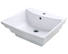 "Polaris P061VW White Porcelain Bathroom Vessel Sink 19 7/8"" W x 17 1/8"" L"