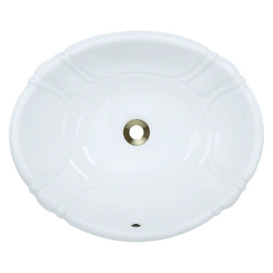"Polaris P5181OW White Overmount Porcelain Bathroom Sink 19 7/8"" W x 16 3/8"" L"