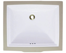 "Polaris P0542UW White Rectangular Undermount Porcelain Bathroom Sink 21 1/2"" W x 18 3/8"" L P0542"