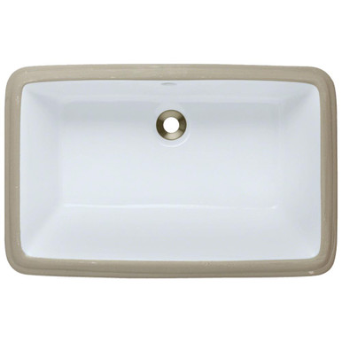 "Polaris P2181UW White Rectangular Undermount Bathroom Sink 21"" W x 13 1/2"" L"