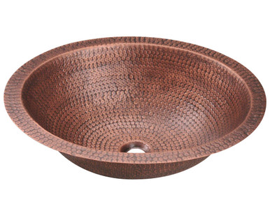 "Polaris P019 Single Bowl Oval Bathroom Sink - Undermount or Topmount 19 1/2"" W x 16 1/4"" L - Hammered Copper"
